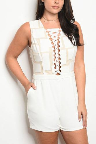 Ladies fashion plus size sleeveless fitted romper with a lace up neckline and geometric pattern top-id.CC34124a