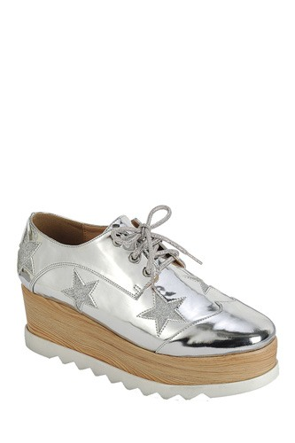 Ladies fashion lace up oxford, closed almond toe, tractor wedge flatform, lace up closure, with decorative star details-id.CC34127a