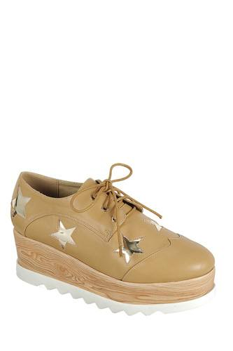 Ladies fashion lace up oxford, closed almond toe, tractor wedge flatform, lace up closure, with decorative star details-id.CC34127b