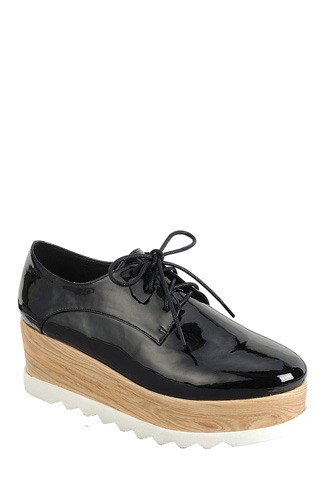 Ladies fashion lace up oxford, closed almond toe, tractor wedge flatform, lace up closure-id.CC34128