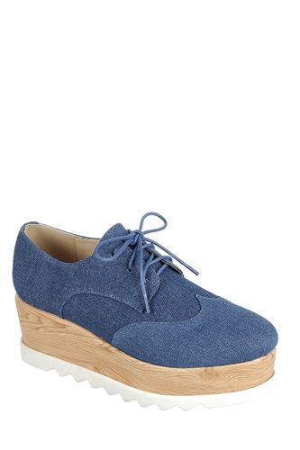 Ladies fashion lace up oxford, closed almond toe, tractor wedge flatform, lace up closure-id.CC34128a