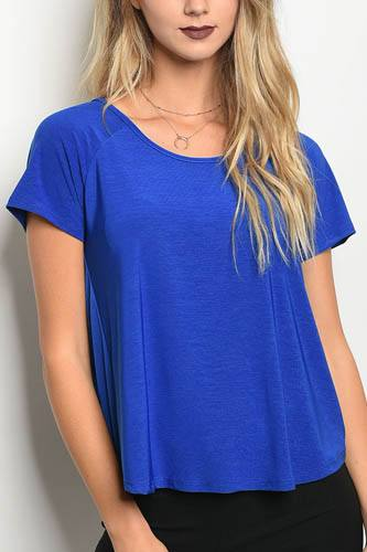 Ladies fashion short sleeve jersey relaxed fit top with a scoop neckline-id.CC34146