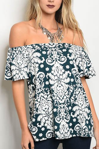 Ladies fashion 3/4 sleeve off the shoulder floral printed top-id.CC34147