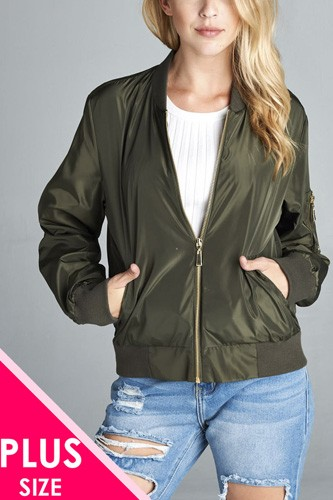 Ladies fashion plus size light weight bomber jacket-id.CC34156a