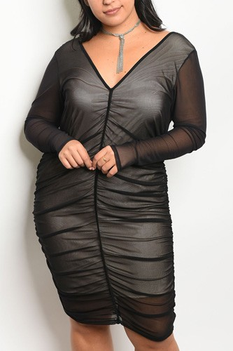 Ladies fashion plus size long sleeve mesh bodycon dress with a v neckline and nude lining-id.CC34165