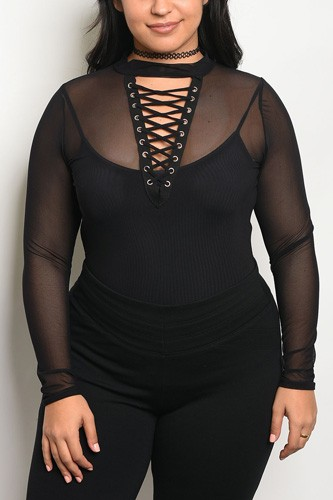 Ladies fashion plus size long sleeve mesh unlined bodysuit with a lace up detail and mock neckline-id.CC34166