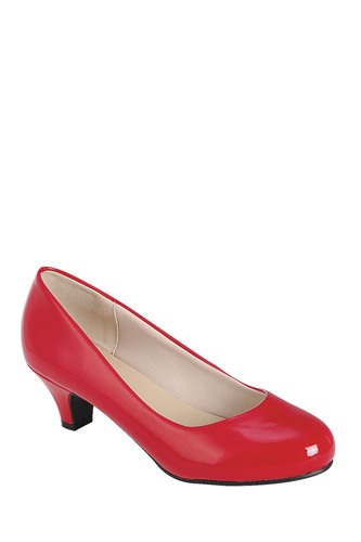 Ladies fashion high heel pump, closed round toe, kitten heel, slip on closure-id.CC34174a