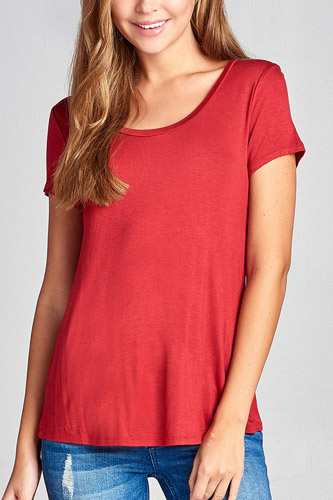 Ladies fashion short sleeve scoop neck top-id.CC34178g