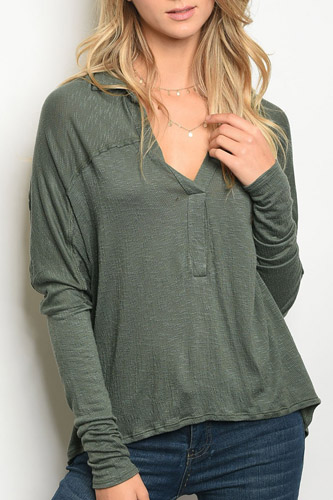 Ladies fashion long sleeve v-neck loose fitting jersey tunic top-id.CC34181a