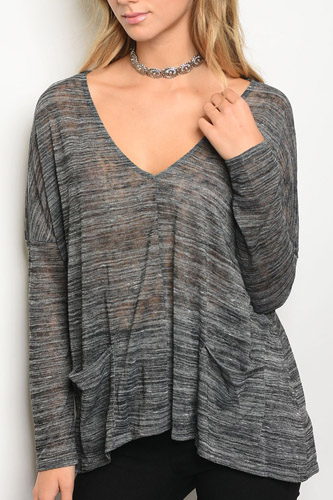Ladies fashion long sleeve v-neck loose fitting jersey tunic top-id.CC34182a