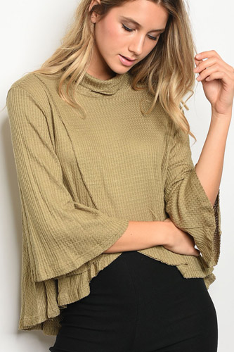Ladies fashion long bell sleeve cowl neck tulip front waffle knit slub top-id.CC34183
