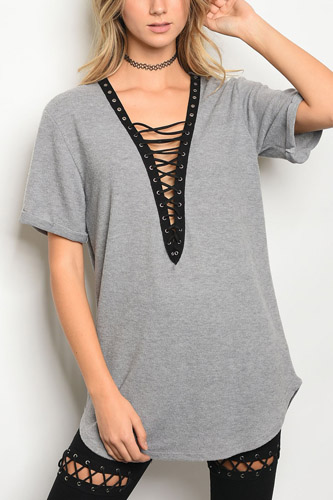 Ladies fashion short sleeve lace up front tunic t-shirt-id.CC34184a