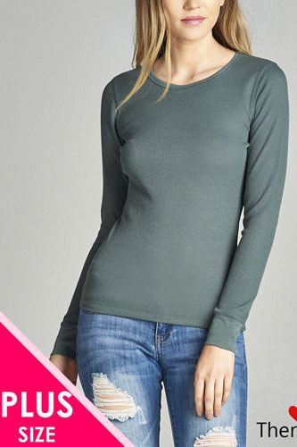 Ladies fashion plus size long sleeve crew neck thermal top-id.CC34195b