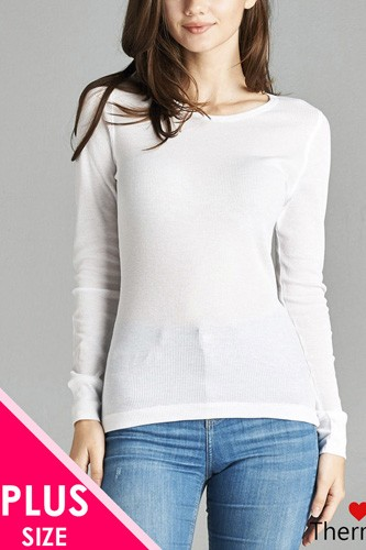 Ladies fashion plus size long sleeve crew neck thermal top-id.CC34195m