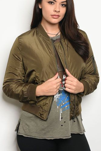 Ladies fashion plus size bomber jacket that hits just at the waist and features zipper closures-id.CC34197