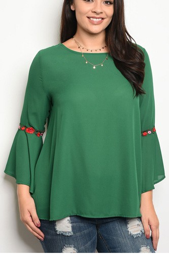Ladies fashion plus size long sleeve acrylic blend top that features bell sleeves and a rounded neckline-id.CC34201a