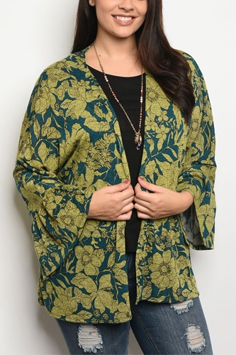 Ladies fashion plus size light weight floral print cardigan that features long sleeves-id.CC34202