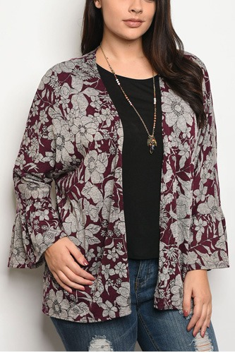 Ladies fashion plus size light weight floral print cardigan that features long sleeves-id.CC34202a