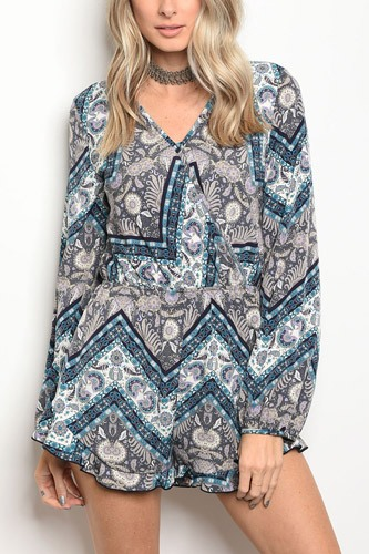 Ladies fashion surplice front long sleeve multi print romper, with smock waist-id.CC34216