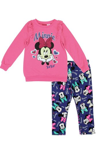 Girls minnie mouse 2-4t 2-piece fleece top with leggings set-id.CC34222