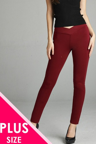 Ladies fashion plus nr span ponte seagull shaped waistband long pants-id.CC34232h