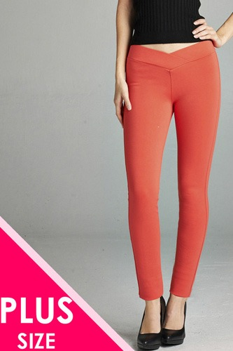 Ladies fashion plus nr span ponte seagull shaped waistband long pants-id.CC34232j