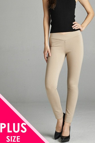 Ladies fashion plus nr span ponte seagull shaped waistband long pants-id.CC34232k