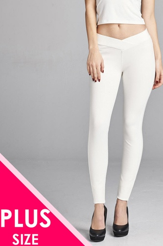 Ladies fashion plus nr span ponte seagull shaped waistband long pants-id.CC34232r