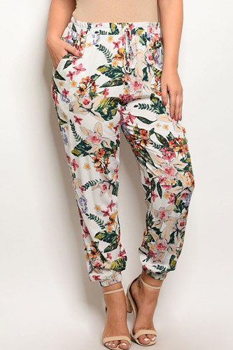 Ladies fashion plus size floral print tapered multi color trousers-id.CC34236