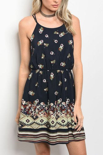 Ladies fashion sleeveless floral print skater dress that features a rounded neckline-id.CC34253a