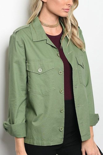 Ladies fashion light weight utility jacket with pocket details and a collard neckline-id.CC34256