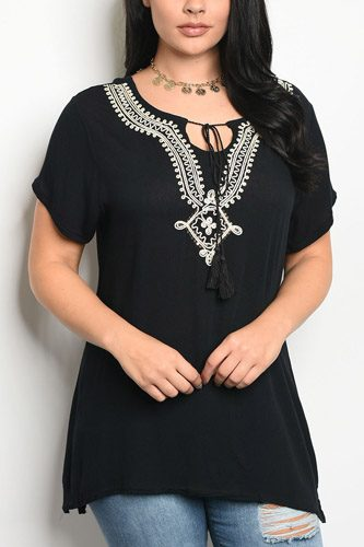 Ladies fashion plus size short sleeve top that features embroidery detail and a rounded neckline-id.CC34266