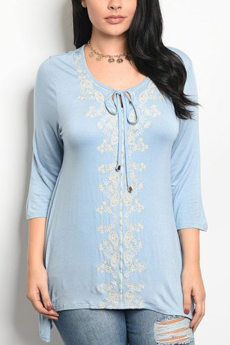 Ladies fashion plus size long sleeve top that features embroidery detail and a rounded neckline-id.CC34267a