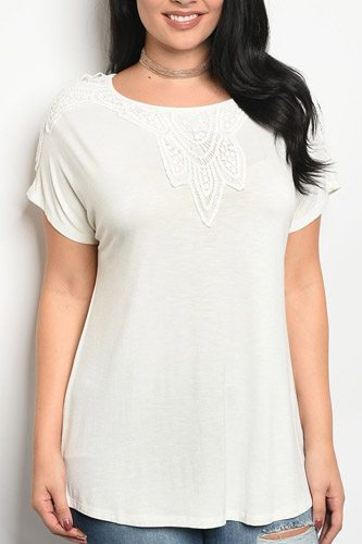 Ladies fashion plus size short sleeve top that features embroidery detail and a rounded neckline-id.CC34269