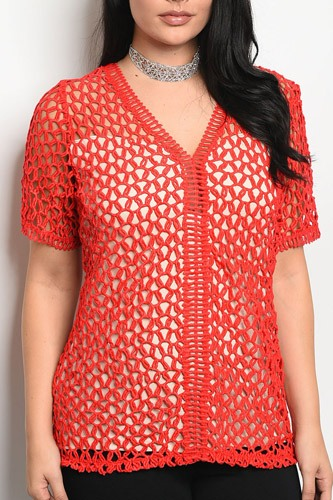 Ladies fashion plus size short sleeve lined lace top that features a v neckline-id.CC34270a