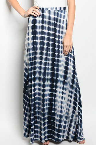 Ladies fashion tie dye printed navy and white jersey maxi skirt-id.CC34276