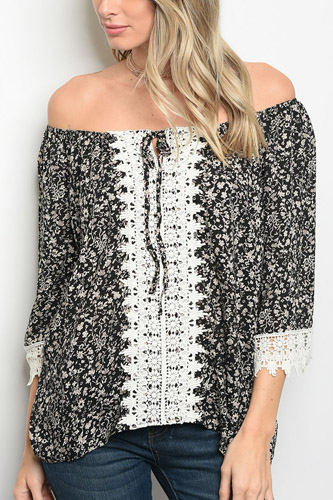 Ladies fashion  off shoulder long sleeve print top, with crotchet detail-id.CC34280