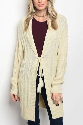 Ladies fashion long sleeve chunky knit ivory sweater that features a tassel waist tie-id.CC34281