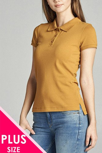Ladies fashion plus size classic pique polo top-id.CC34289e