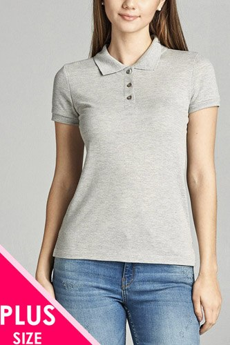 Ladies fashion plus size classic pique polo top-id.CC34289f