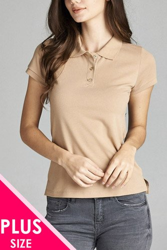 Ladies fashion plus size classic pique polo top-id.CC34289g