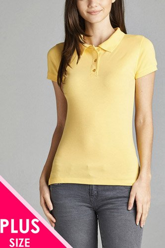 Ladies fashion plus size classic pique polo top-id.CC34289h