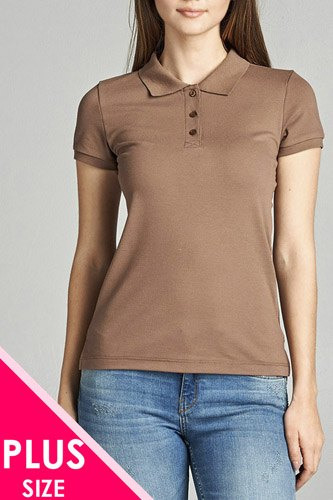 Ladies fashion plus size classic pique polo top-id.CC34289j