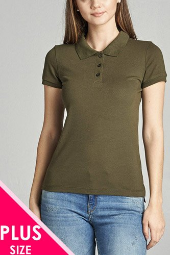 Ladies fashion plus size classic pique polo top-id.CC34289m