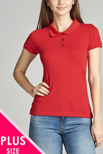 Ladies fashion plus size classic pique polo top-id.CC34289n