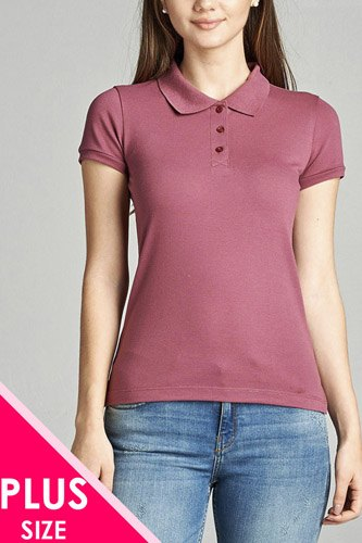 Ladies fashion plus size classic pique polo top-id.CC34289o