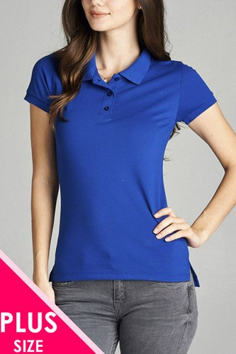Ladies fashion plus size classic pique polo top-id.CC34289p