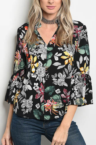 Ladies fashion 3/4 sleeve floral print blouse that features a v neckline-id.CC34304