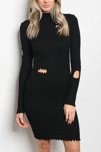 Ladies fashion long sleeve ribbed knit fitted bodycon dress with distressed details and a mock neckline-id.CC34305a