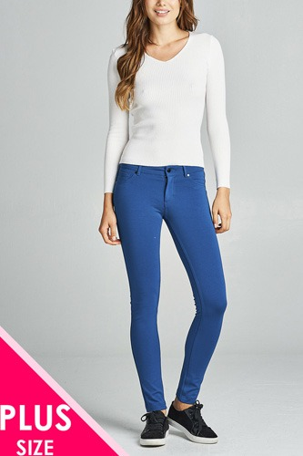 Ladies fashion plus size 5-pockets shape skinny ponte pants-id.CC34318b